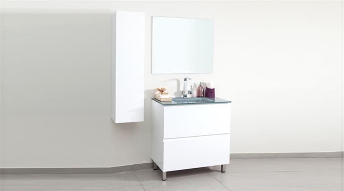 ארון אמבטיה לבן עם כיור זכוכית במבצע